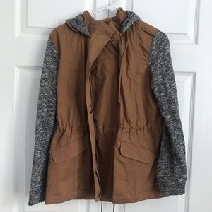 Brown and Gray Jacket with Hood